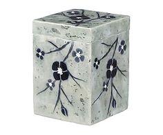 Caja de nácar Flores - azul