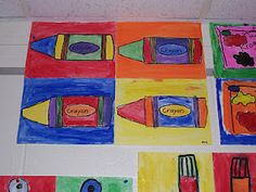 Andy Warhol & Pop Art crayon oil pastel kindergarten art lesson project repetition primary colors