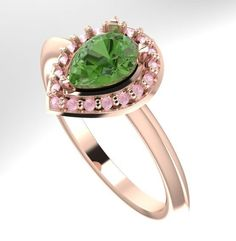 Envy...  A contemporary twist to the traditional cluster ring, this is a truly show-stopping ring, a little quirky and very beautiful. #rose #gold #green #tourmaline #cluster #ring #engagement #ring