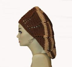 Slouchy Beret Crochet Hat Beanie Brown and Tan Stripe by ExpressiveStitches for $24.00