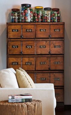 Living room side table/piece. Antique industrial card file.