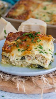 Chicken Spinach Lasagna, White Chicken Lasagna, Baked Lasagna, Spinach Stuffed Chicken, Riccota Cheese Recipes, Lasagna Recipe Without Ricotta, Food Network Recipes, Cooking Recipes, Healthy Recipes