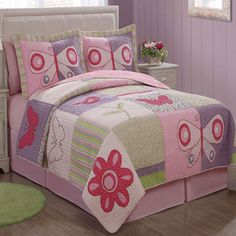 Pink Butterfly Flower Patched Quilt with Pillow Sham