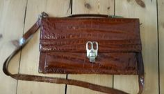 #Vintage brown #crocodile skin leather handbag #1940s,  View more on the LINK: http://www.zeppy.io/product/gb/2/182405652011/