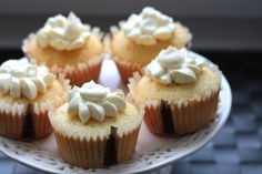 Simple vanilla cupcake with maple buttercream. Recipe from world famous Magnolia Bakery!
