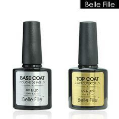 Belle Fille 10 ml Gel Esmalte de Uñas Capa de Base + Capa Superior Gel de uñas Laca de Uñas de Gel Empapa de UV LED de Larga Duración