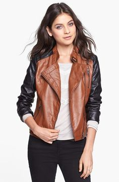 Size small- Dollhouse Two-Tone Faux Leather Moto Jacket (Juniors) (Online Only) | Nordstrom