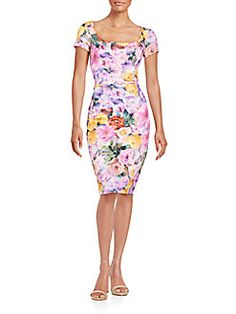 Floral-Print Square-Neck Sheath Dress
