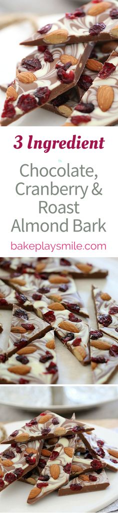 With Christmas only a short while away, it's time to think about some yummy foodie gifts. This 3 ingredient Chocolate, Cranberry & Roast Almond Bark takes less than 5 minutes to prepare and makes the perfect gift for family or friends! | Bake Play Smile #christmas #bark #recipe #chocolate #almond #cranberry #easy