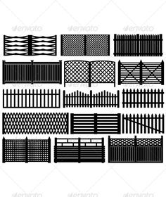 Buy Fence Set by on GraphicRiver. Fence set isolated on white House Main Gates Design, House Fence Design, House Window Design, Balcony Railing Design, Window Grill Design, Steel Gate Design, Iron Gate Design, Latest Gate Design, Front Wall Design