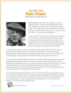 Hey Kids. Meet Pablo Picasso | Printable Biography - http://makingartfun.com/htm/f-maf-printit/pablo-picasso-print-it-biography.htm