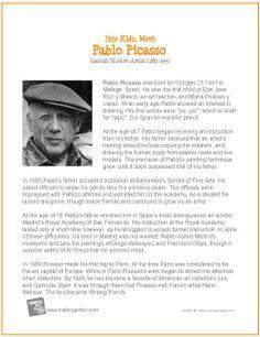 "Lots of artists posters ""Meet Pablo Picasso Pablo Picasso, Picasso Art, Middle School Art, Art School, High School, Art Handouts, Art Worksheets, Art Curriculum, Artist Biography"