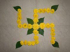 9 Latest Swastik Rangoli Designs with Images Rangoli Ideas, Rangoli Designs Diwali, Diwali Decorations, Flower Decorations, Food Decoration, Flower Bowl, Flower Art, Festival Rangoli, Special Rangoli