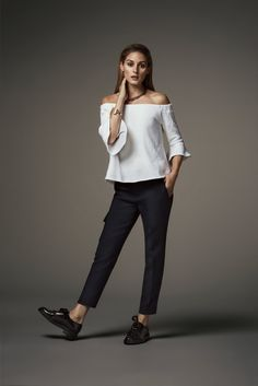 Banana Republic Off-the-Shoulder Ruffle Top and Heritage Cargo Crop Pant