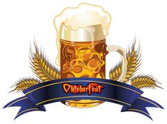 Oktoberfest Beer with Wheat and Blue Banner PNG Clipart Image