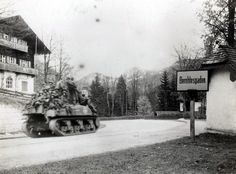 An M4 Sherman tank and men of the 3rd Infantry Division entering Berchtesgaden, Germany, May 4, 1945. (US Army photo)