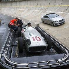 While the is on the process trailer, the handily conquers the track's banked curves. Mercedes Benz, Cla 250, Racing Baby, Love Car, Formula One, Cars Motorcycles, Luxury Cars, Curves, Wheels