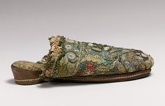 Slippers (Mules) Date: first quarter century Culture: British Medium: silk, metal Dimensions: Length: 8 in. cm) Width: 3 in. Historical Costume, Historical Clothing, Medieval Clothing, Vintage Shoes, Vintage Outfits, Old Shoes, Antique Clothing, Fashion Plates, Fashion History