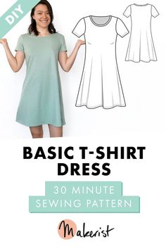 Tshirt Dress Sewing Pattern (for beginners) - - beginners dress pattern se .Tshirt Dress Sewing Pattern (for beginners) - - beginners dress pattern sewing tshirtFree sewing instructions sew cosmetic bag for beginners with sparkling threadFree Sewing Shirts, Sewing Clothes, Diy Clothes, Easy Sewing Patterns, Clothing Patterns, Pdf Patterns, Pattern Sewing, Shirt Patterns For Women, Stitching Patterns