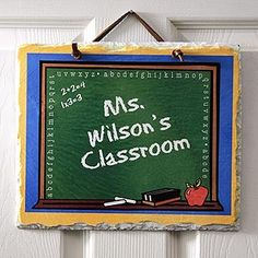 Personalized Teacher's Classroom Slate Plaque - great gift idea for your kids' teachers!