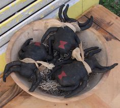 Primitive Black Widow Spider Bowl Fillers by Rabbithollowprims