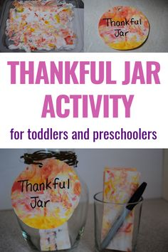 Making a thankful jar is a great way to help your kids focus on feeling grateful this holiday season. Here's how to make a family gratitude jar using shaving cream marbled paper. Toddler Preschool, Toddler Crafts, Toddler Activities, Fun Activities, Thanksgiving Post, Thanksgiving Crafts For Toddlers, Gratitude Jar, Grateful, Thankful