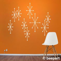 Even though these are decals, design would be great on a chalk board.                      atomic starbursts vinyl wall decals mid century modern retro, wall sticker art