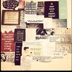 Quotes collage on dorm room wall