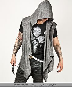 Outerwear :: Avant-garde Shawl Accent Hood Vest - 18 - New and Stylish - Fast Mens Fashion - Mens Clothing - Product
