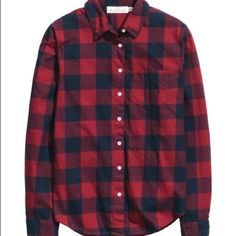 Plaid cotton button up Red and black plaid cotton shirt! Brand new didn't fit. :/ H&M Tops Button Down Shirts