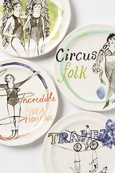 Circus Dessert Plates #anthropologie LOVE these to hang in the dining nook!