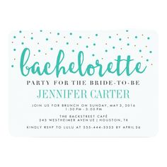 Chic Teal Gold Dots Bachelorette Party Invitation