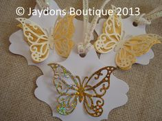 Beautiful, White, Ivory and Gold Gift/Favour/Hanging Tags, 2 sizes available x Favour Boxes, Best Of British, Butterfly Wedding, Pin Image, Wedding Jewelry, Beautiful Flowers, Butterflies, Favors, Gardens