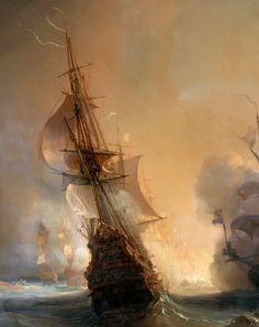 "lemarechaldefer-deactivated2015:  "" Bataille de Lagos, 27 juin 1693  by Théodore Gudin, 1880, detail."""