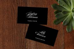 """Classically Stated"" - Elegant, Formal Wedding Place Cards in Charocal by roxy."