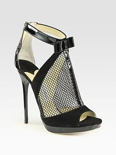 Jimmy Choo - Callie Mixed Media T-Strap Sandals
