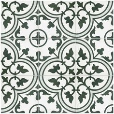 """Artea 9.5"""" x 9.5"""" Porcelain Field Tile in White/Gray Porcelain Tile, White Porcelain, Kitchen Nook, Kitchen Backsplash, Black And White Tiles, Vintage Tile, Vintage Modern, Color Tile, Tile Patterns"""