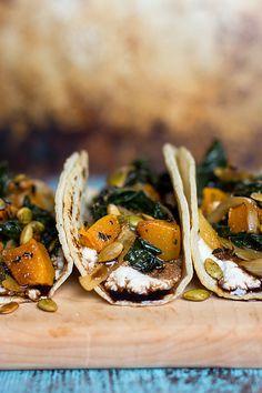 Pumpkin, charred onion & kale tacos