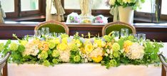 レモンイエローの会場装花 | Garland Gothic Wedding, Glamorous Wedding, Wedding Event Planner, Wedding Events, Weddings, Event Lighting, Wedding Lighting, Wedding Notes, Yellow Table