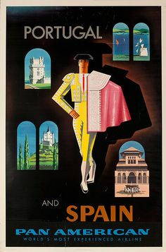 DP Vintage Posters - Original Vintage Pan Am Travel Poster Portugal and Spain World's Most Experienced Airline