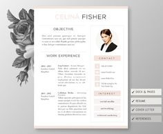 Classy Resume 4page! Including Cover Letter, Reference Template For By  ChicUnicorn