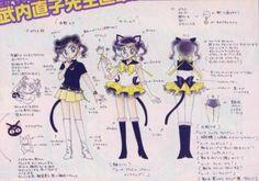 """セーラールナのキャラクターデザイン character design sheet for Sailor Luna from """"Sailor Moon"""" series by Naoko Takeuchi"""