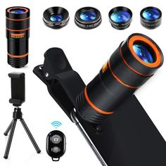 Cell Phone Camera Lens in 1 Universal Wide Angle Macro +Phone Holder -Shutter Remote+Tripod for iPhone plus Samsung Android & phone Samsung Galaxy S6, Samsung Android Phones, Iphone Lens, Digital Camera Lens, Camera Phone, Samsung Camera, Bluetooth Remote, Cell Phone Holder, Smartphone