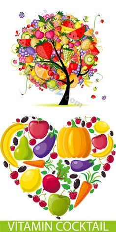 Creative fruit tree vector material download