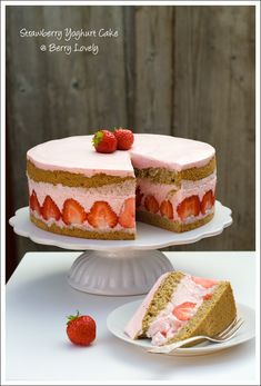Berry Lovely: Strawberry Yoghurt Cake with Matcha Sponge, minus the matcha, but keep the spongy consistency.
