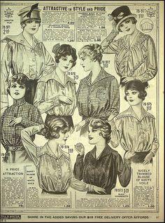 Eatons-Fall-Winter-1917-097  Các mẫu áo sơ mi nữ vào cuối thập niên 10. Cổ áo nằm xuống 2 bên vai, các chi tiết trước cổ được lược bớt đi.