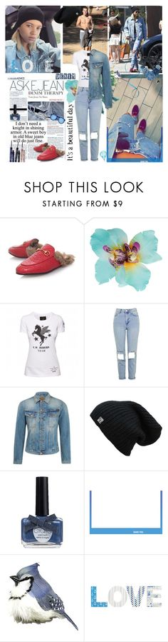 """""""Happy Sunday"""" by lizart ❤ liked on Polyvore featuring Ciaté, Gucci, Dorothy Perkins, Topshop, Nudie Jeans Co., Jeremy Scott, Umbra, loafers and Sophia"""
