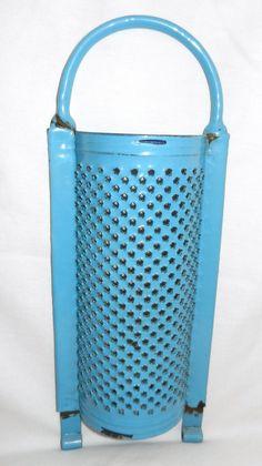 Vintage Blue Enamelware Hand Held Grater | eBay
