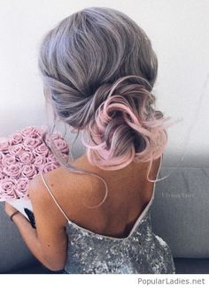 Grey hair with pink accent and a glitter dress