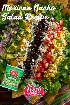 Vegetarian Gluten free · This colorful salad makes a great entrée or side dish for a Mexican-style fiesta meal.    #mexican #nacho #salad #rainbow #easysalad #easymeal Easy Salads, Healthy Salads, Summer Salads, Healthy Eating, Healthy Recipes, Healthy Food, Nacho Salad, Soup And Salad, Cilantro
